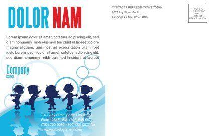 Little Children Postcard Template, Inner Page, 07607, Education & Training — PoweredTemplate.com