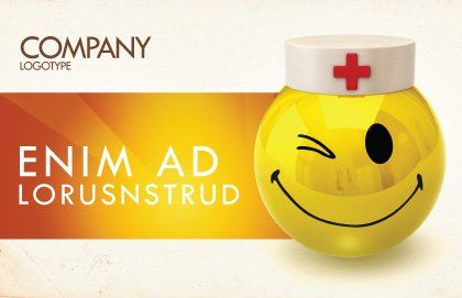 Doctor Emoticon Postcard Template, Outer Page, 07777, Medical — PoweredTemplate.com