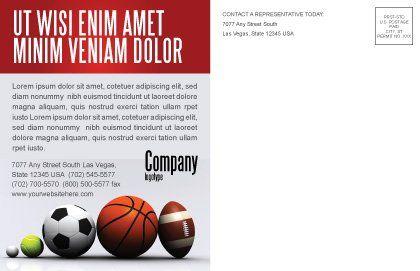 Sport Balls Postcard Template Inner Page