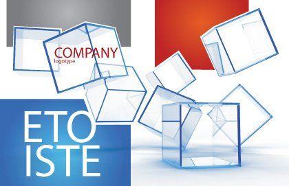 Glass Cubes Postcard Template, Outer Page, 08276, Business — PoweredTemplate.com