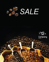 Food & Beverage: Coffee Beans In A Bag Sale Poster Template #01613