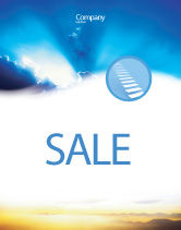 Religious/Spiritual: Blue Sky With Sunbeams Sale Poster Template #02216