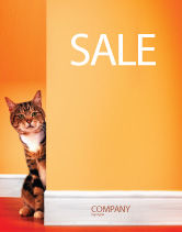 Agriculture and Animals: Curious Cat Sale Poster Template #02560