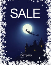 Holiday/Special Occasion: Santa's Sleigh On The Background Of The Moon Sale Poster Template #02850