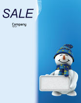 Holiday/Special Occasion: Smiling Snowman Sale Poster Template #02857