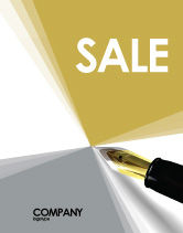 Business: Fountain Pen On The Light Gold Sale Poster Template #02862