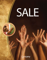 Education & Training: Hands Up Sale Poster Template #03060