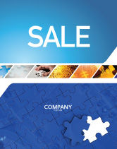 Abstract/Textures: Blue Jigsaw Sale Poster Template #03070