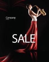 Art & Entertainment: Jazz Saxofoon In De Lippen Van Het Meisje Poster Template #03071