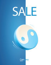 Religious/Spiritual: Blue Yin Yang Sale Poster Template #03073