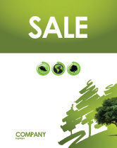Nature & Environment: Green Tree On Light Olive Background Sale Poster Template #03109
