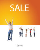 People: Hands Up Teenagers Sale Poster Template #03124