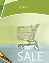 Financial/Accounting: Shopping Cart On Olive Background Sale Poster Template #03208