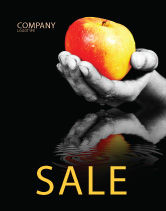 Business Concepts: Reflection Of Apple In Hand Sale Poster Template #03326
