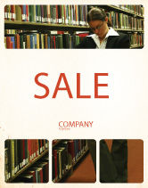 Education & Training: Student In The Library Sale Poster Template #03732