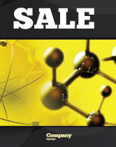 Abstract/Textures: Molecular Lattice In Dark Yellow Colors Sale Poster Template #04002