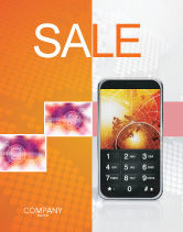 Telecommunication: Cellular Phone In Orange Colors Sale Poster Template #04021