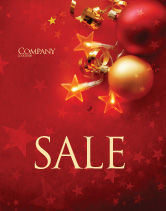 Holiday/Special Occasion: Red Christmas Theme Sale Poster Template #04186