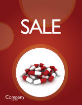 Medical: Red White Pills Sale Poster Template #04208