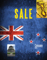 Flags/International: New Zealand Sale Poster Template #04258