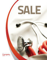 Medical: Phonendoscope In A Gray Red Colors Sale Poster Template #04712