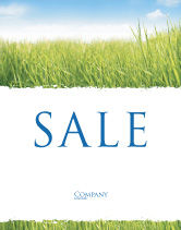 Nature & Environment: Green Grass Under Blue Sky Sale Poster Template #04885