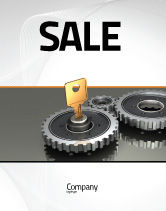 Business Concepts: Key To Lock Mechanism Sale Poster Template #04966