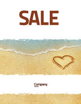 Holiday/Special Occasion: Heart On Sand Sale Poster Template #04969