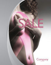 Medical: Breast Cancer Ribbon On The Naked Girl Body Sale Poster Template #05103