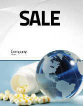 Medical: Bottle Of Tablets With Globe Sale Poster Template #05180