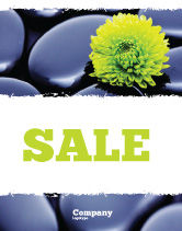 Careers/Industry: Yellow Flower In A Dark Blue Stones Sale Poster Template #05187