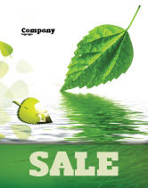 Nature & Environment: Green Leaf Falling Sale Poster Template #05260