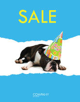 Holiday/Special Occasion: Happy Birthday Puppy Sale Poster Template #05265