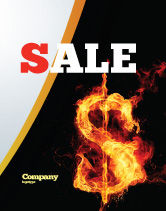 Financial/Accounting: Flaming Dollar Sale Poster Template #05347
