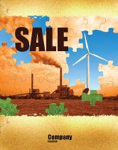 Nature & Environment: 风能与煤电厂海报模板 #05385