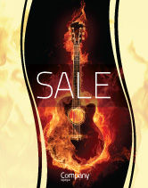Art & Entertainment: Jazz Guitar Sale Poster Template #05536