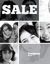 People: Kids In Black And White Colors Sale Poster Template #05591