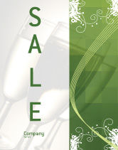 Art & Entertainment: Green Background With White Vegetative Decor Sale Poster Template #05621