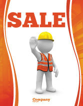 Construction: Symbolic Figure Of A Builder Sale Poster Template #05877