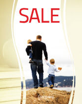 People: Father and Kids Sale Poster Template #06118
