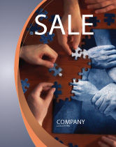Business Concepts: Team Building Puzzle Sale Poster Template #06348
