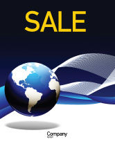 Global: Midnight Blue Globe Sale Poster Template #06588