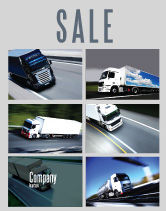Cars/Transportation: Trailer Trucks Sale Poster Template #06923