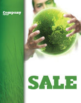 Nature & Environment: Green World in Human Hands Sale Poster Template #06955