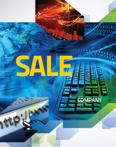 Technology, Science & Computers: Keyboard Theme Sale Poster Template #07780