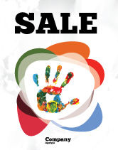 Education & Training: Colorful Hand Print Sale Poster Template #07840