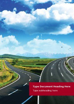 Highway Under Blue Sky Word Template, Cover Page, 01358, Construction — PoweredTemplate.com