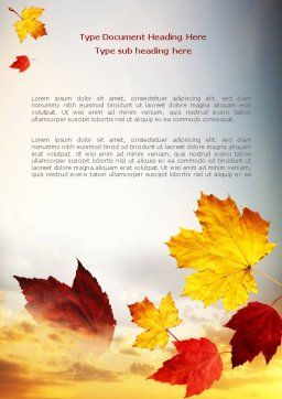 Falling Leaves In The Sunset Word Template Cover Page