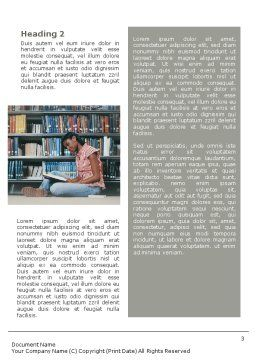 School Girl In The Library Word Template, Second Inner Page, 01565, Education & Training — PoweredTemplate.com