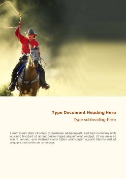 Cowboy Word Template, Cover Page, 01588, America — PoweredTemplate.com